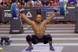 CrossFit Games Athlete Neal Maddox hang squat snatching 295 pounds a the 2014 CrossFit Games NorCal Regional. Image courtesy of crossfit.com.